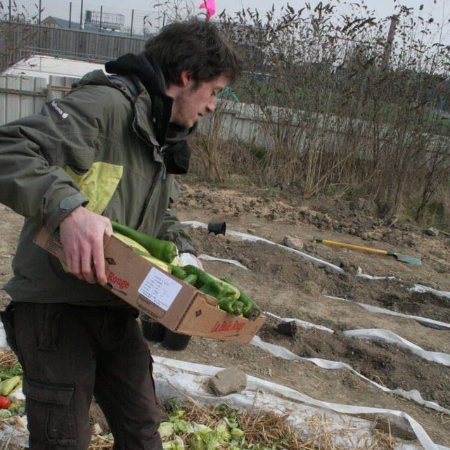 Gaby Bonnefille en train de jardiner