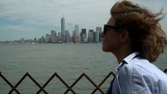 Chantal Akerman sur le tournage de son film Histoires d'Amérique