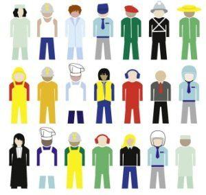 Pictogrammes de bonhommes aux métiers divers