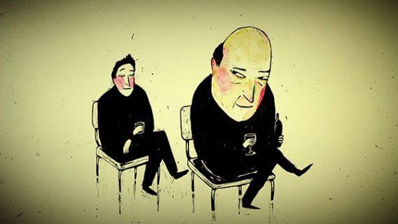 Deux personnages assis sur une chaise, l'un d'eux regarde l'autre en coin (film d'animation).