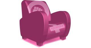 Fauteuil rose avec écrit féminisme