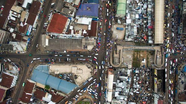 Photo d'une ville vue du ciel