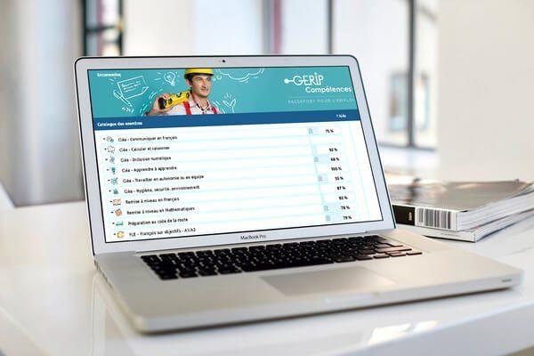 Ecran d'ordinateur sur le site GERIP