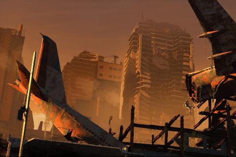 Paysage post-apocalyptique : carcasse d'avion et immeubles en ruines