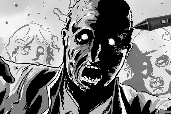 Dessin de trois zombies en cours de réalisation