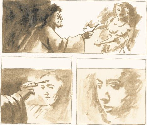 Illustration de Nejib d'un homme qui peint le visage d'une femme