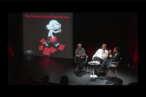Photo de Riad Sattouf, Emile Bravo et Laurentin Emmanuel en salle