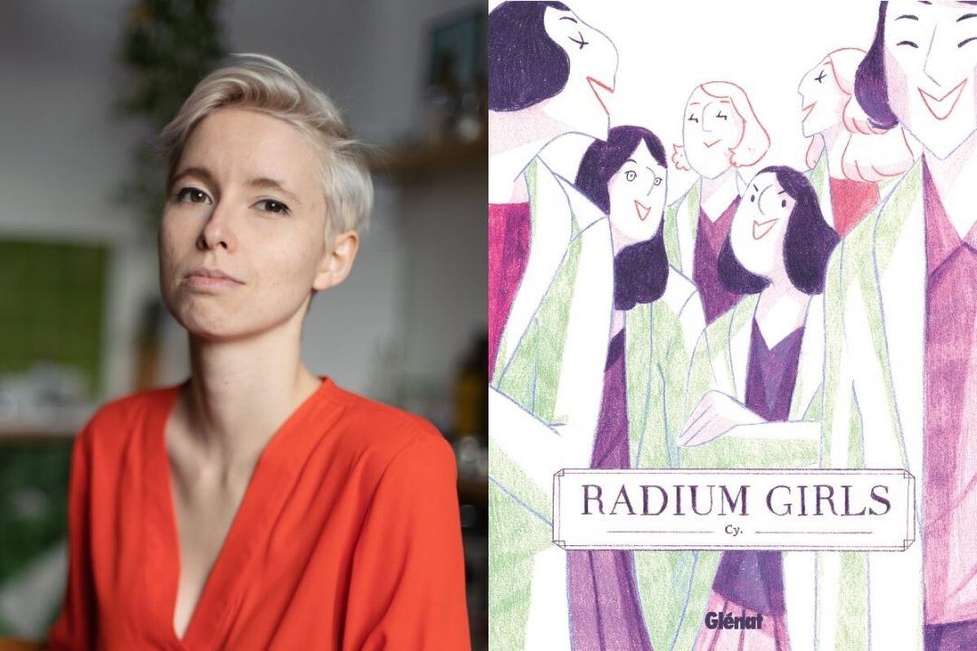Portrait de Cy et couverture de Radium Girls