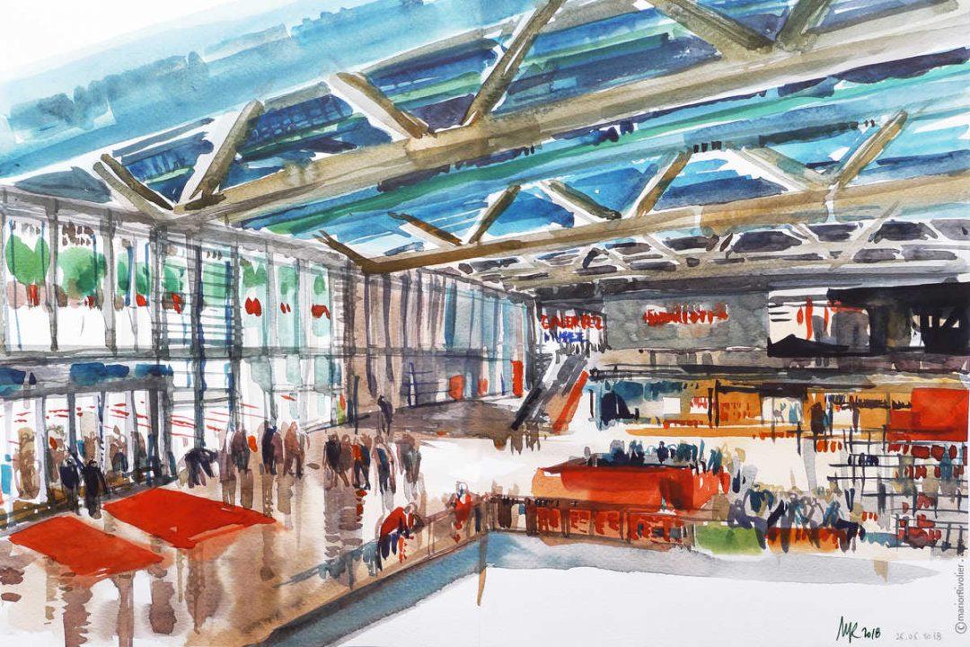 croquis du forum du centre pompidou