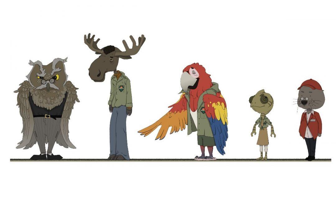 Personnages-animaux du jeu Bulle (un hiboux, un élan, un perroquet, un caméléon et un castor)