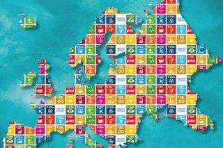 Carte de l'Europe dessinéee sur fonds des objectifs de développement durable